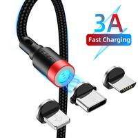 USLION 3 in 1 Round Connector for Micro USB C 1M 3A Magnetic USB Fast Charging Cable With Data Transfer