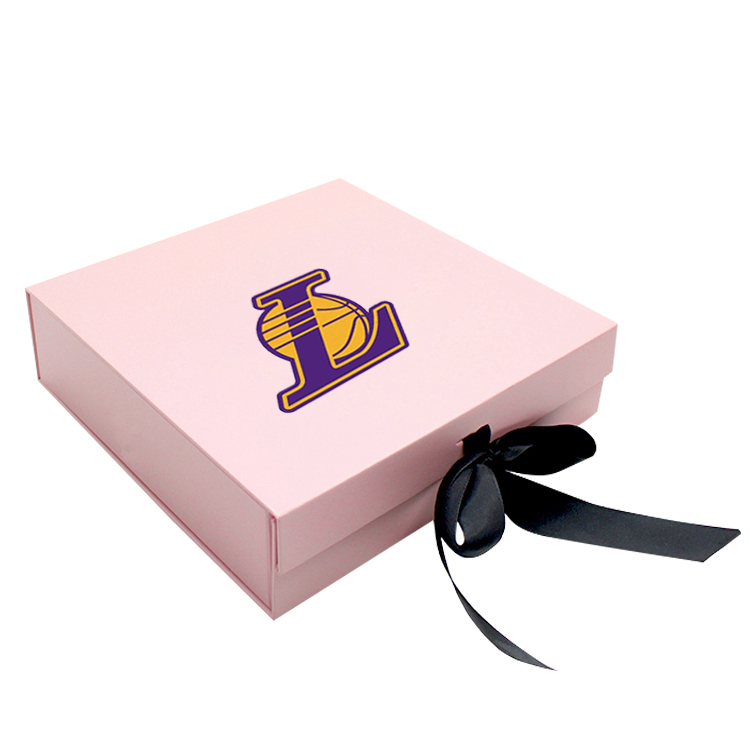 Custom Logo Empty Large Pink Magnetic Cardboard paper Box Shipping Gift Boxes Clothes Folding Box with Bow