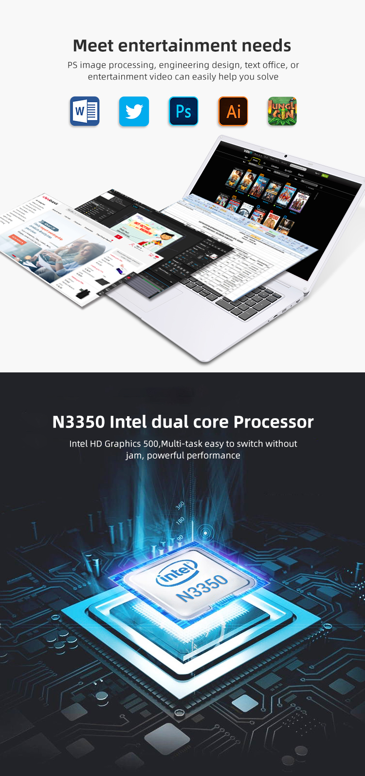 2019 Best Price17.3 Inch Dual core Mini Notebook Computer for School,Office or Home