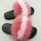 New Colorful Fox Natural Fur Sandals Slides Slippers For Women