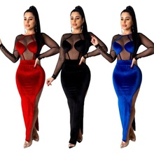 Frauen Winter gold samt mesh nähte seite hohe split lange hülse backless sexy kleid FM-SM9075
