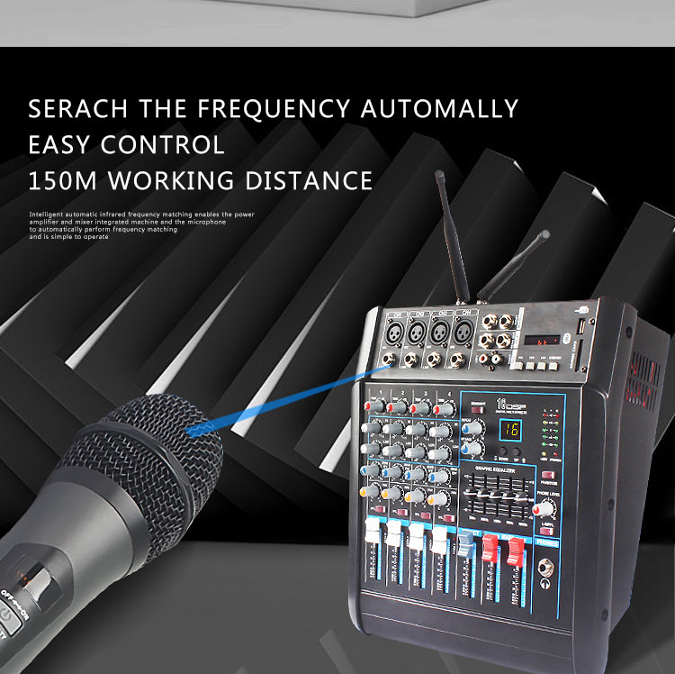 2019 Terbaru 4 Channel Bluetooth USB Audio Mixer Konsol dengan Amplifier