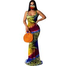 Модное сексуальное облегающее женское платье без рукавов с принтом «рыбий хвост», вечерние платья на тонких бретельках, женское длинное пл...(Китай)