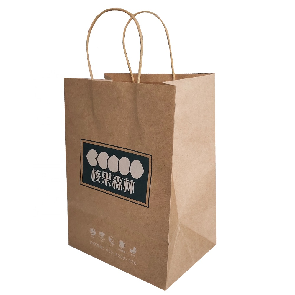 Custom Low Cost Lunch Food Paper Bags White Handle