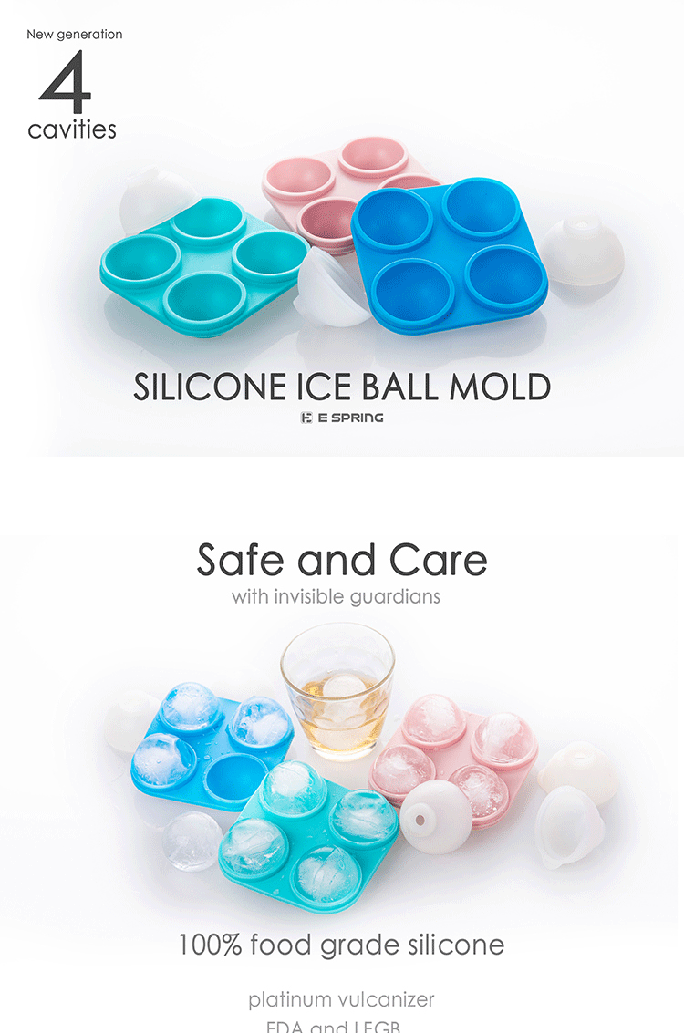 Round Ball Shape Small Circle Ice Mold Custom Silicone 4-Cavity Round Ice Cube Trays