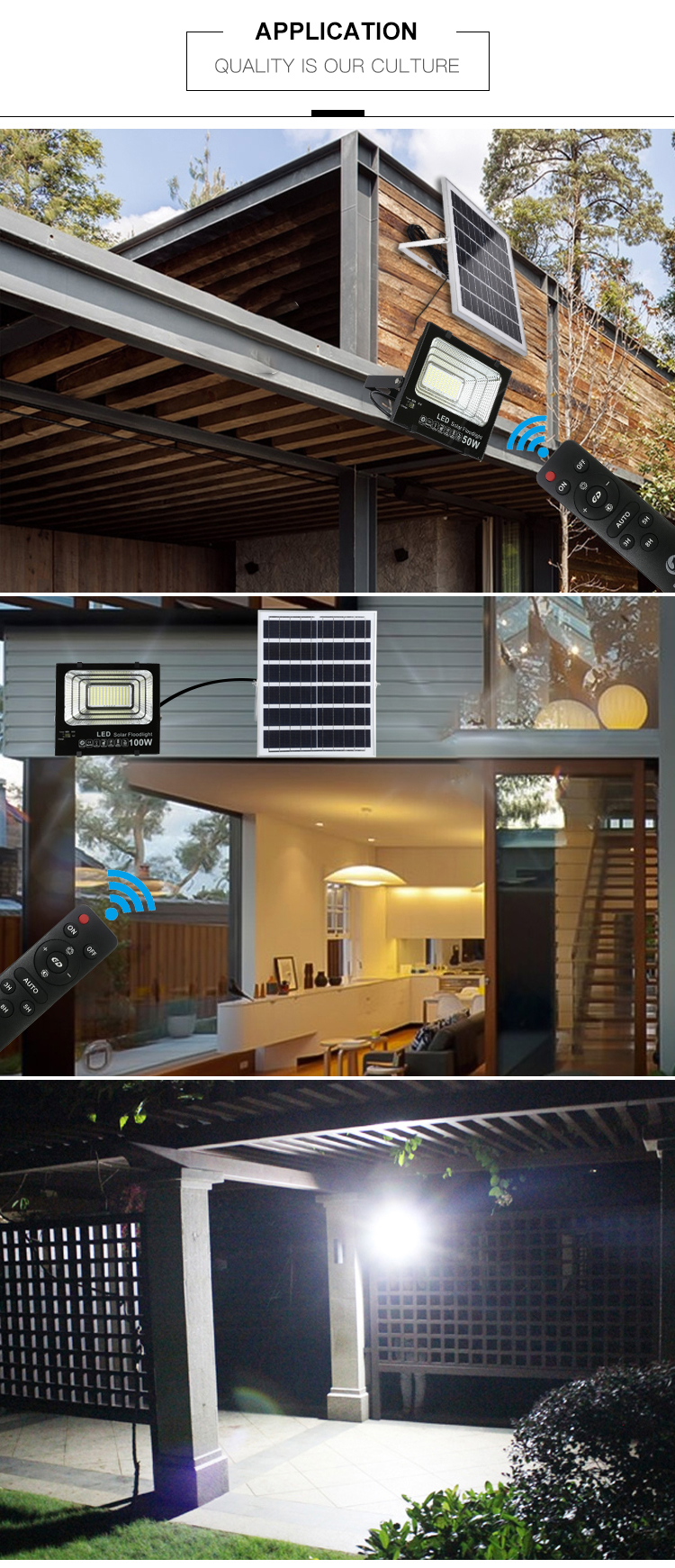 Yeni ürün bahçe ip67 döküm alüminyum 30w 50w 100w 150w 200w 300w güneş led projektör