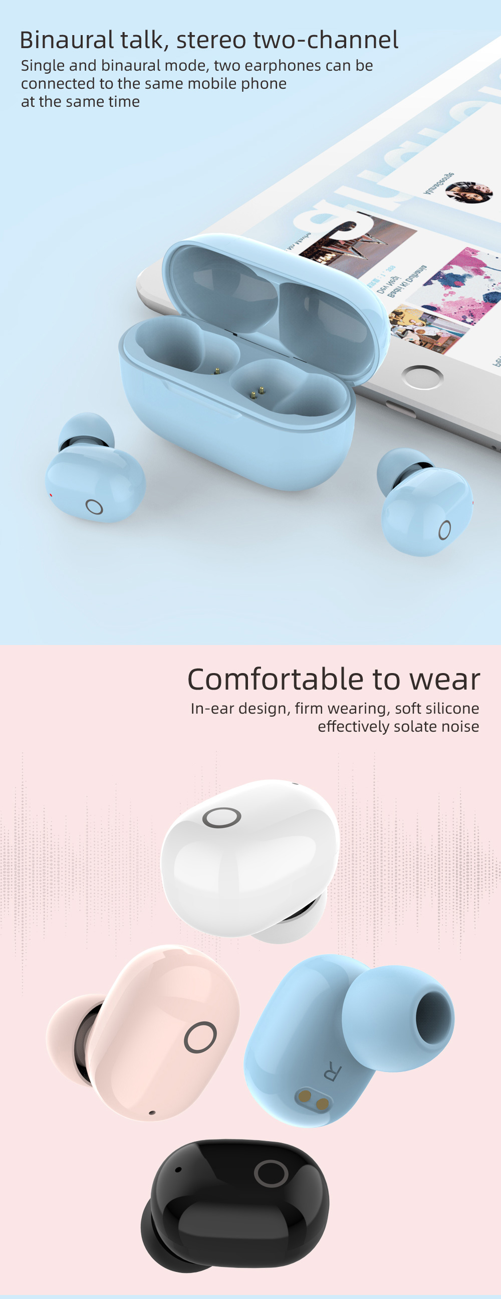 2020 Amazan trending TWS wireless music earbuds true mini earphones durable earbuds with charging case