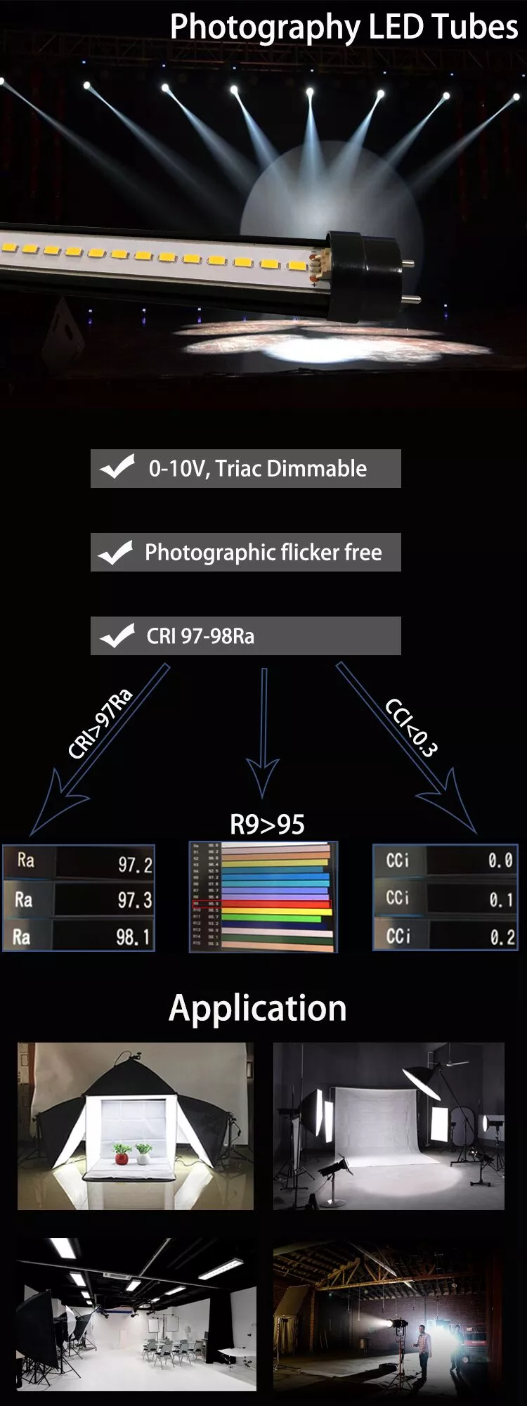 CRI97 Cci> 0.1 Dimbare Led Buis T8 T12 30W 4FT Lamp Fotografie Led Buis Licht Voor Movie Licht