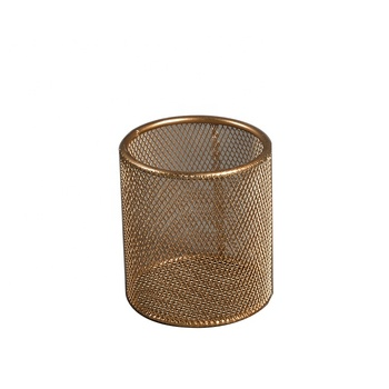 Mayco Wholesale High Quality Round Metal Mesh Pen Pencil Holder Container Office Accessories for Desk