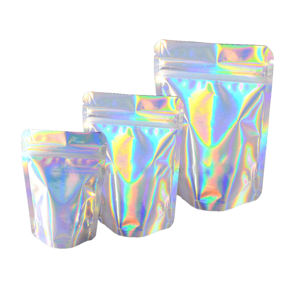 Custom Holographic Smell Proof Aluminium Foil Mylar Zipper Lock Hologram Packaging Bags with Your Own Design