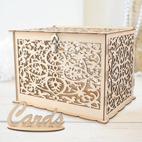 OurWarm Beautiful Wedding Decoration DIY Wedding Gift Card Box Wooden Money Box With Lock For Rustic Vintage Wedding Party