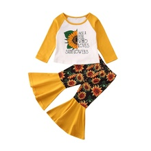 Mode Sonnenblumen Muster Baby Mädchen Outfit Set Boutique Kinder Frühling Herbst <span class=keywords><strong>Kleidung</strong></span>
