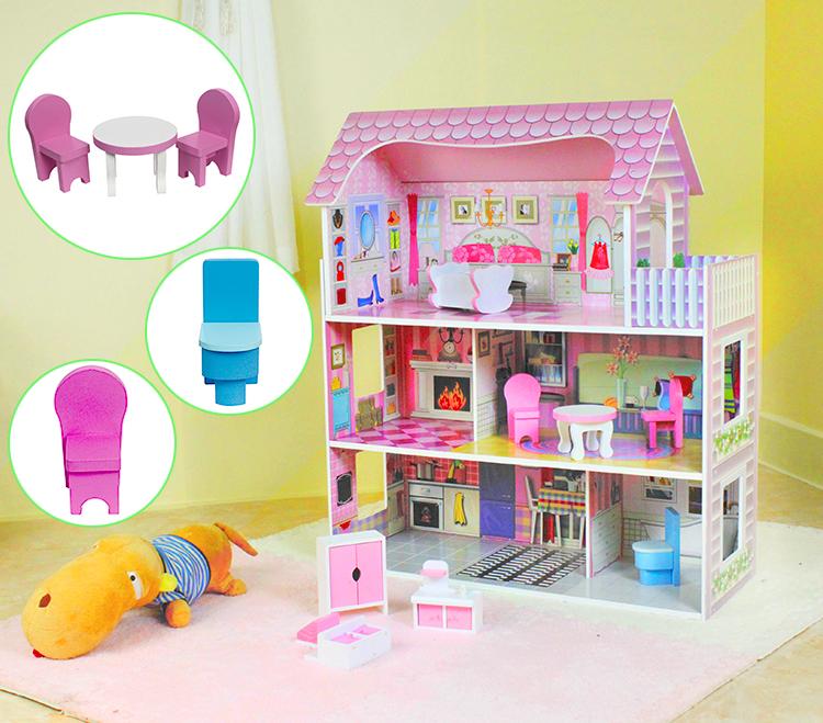 Pabrik Grosir Bermain Anak-anak Kayu Besar Rumah Boneka dengan Furnitur