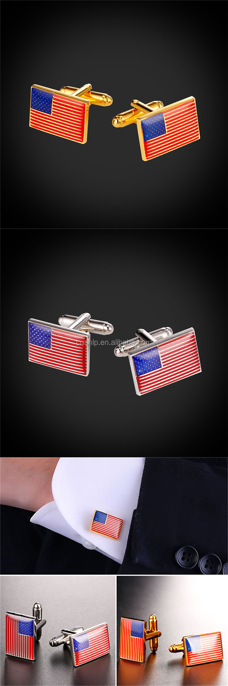 Wholesale high quality enamel America flag cufflinks with epoxy dome