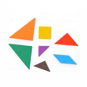 Wooden Tangram 7 Piece Jigsaw Puzzle Colorful Intelligent Educational Toys for Kids
