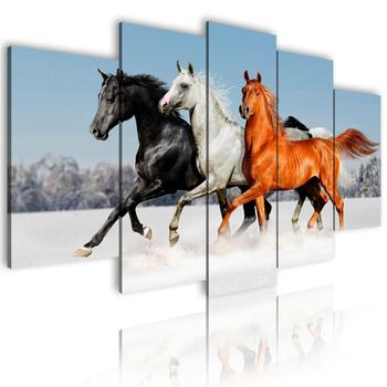 Modern Canvas Painting Art Picture Of The Wall 5 Pieces Animal Horse Pentium Home Decor Room Modular HD Printed Picture Frame