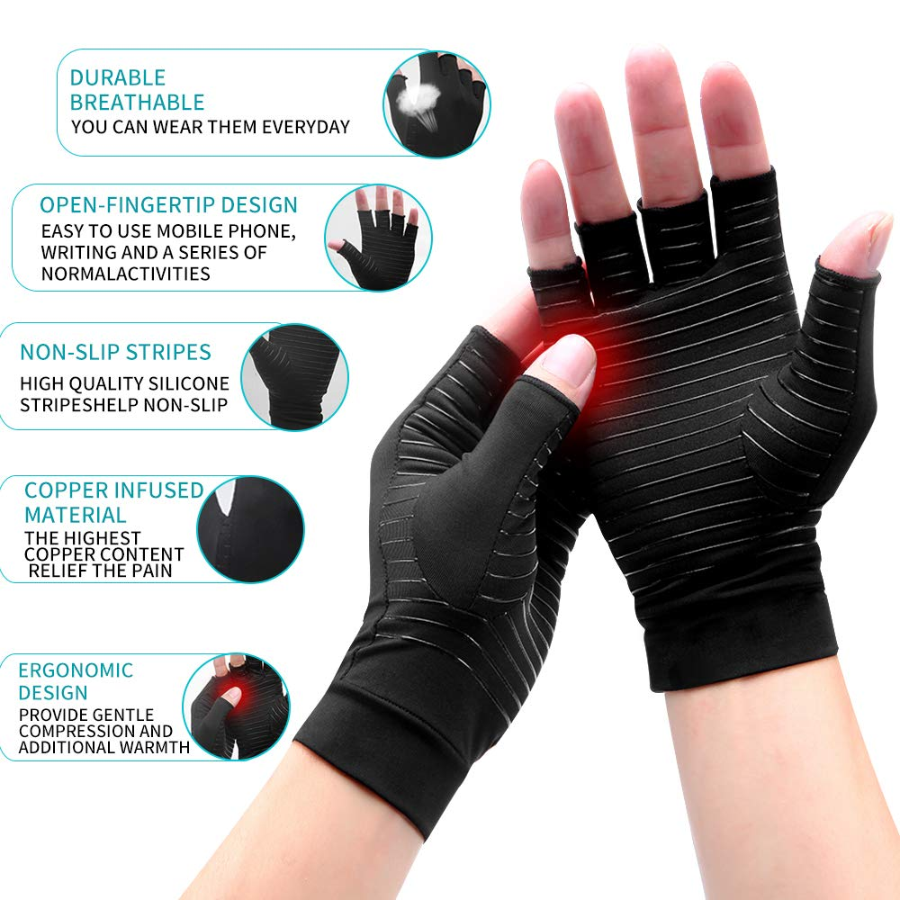 High Copper Infused Compression <strong>Gloves</strong> Half finger Copper Compression Arthritis <strong>Gloves</strong> for joint pain relief