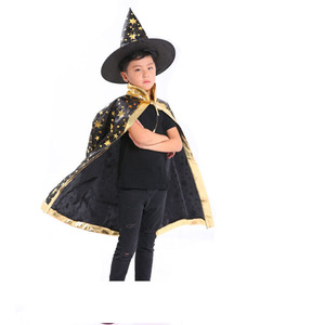 Children Halloween Cosplay Cloak Hat Witch Clothing Sets With Star Pattern Kids Party Supplies For Festival Decorations