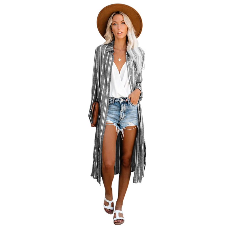Women Gray Stripe Shirt Cover Up Beachwear Dress фото