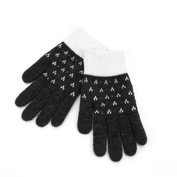Yiwu winter women's jacquard pattern gloves knitted touch screen plus velvet warm gloves