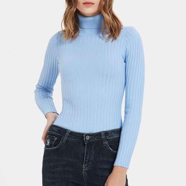 Casual Long Sleeve Pure Color High Neck Knitting 2020 Women Bodysuit