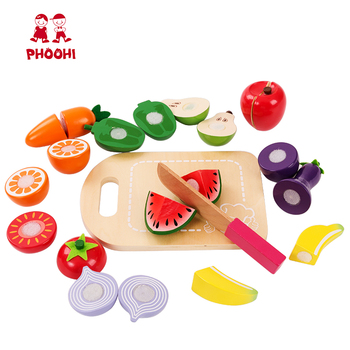 Preschool Educational Children Pretend Play Kitchen Wooden Cutting Fruit Vegetable Toy For Kids