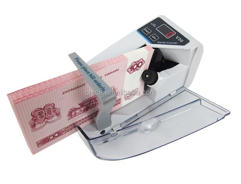 V30 LED Display Mini Portable Use Battery Plug Handy Money Machine Banknote Currency money Counting Bill Counter