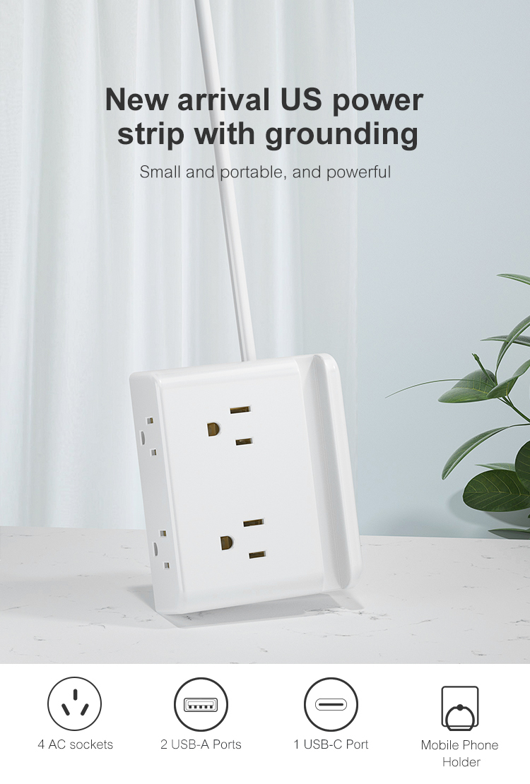 New Trend USA Power Strip Surge Protector Electrical AC Way Outlet Cord Multi USB Switch Plug Tabletop Extension Socket