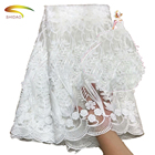 New arrival design white guipure 3d tulle lace mesh fabric embroidery