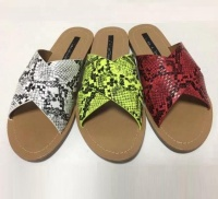 2019 Summer Slippers Cross Straps Ladies Flat Sandals Snakeskin Women Slides