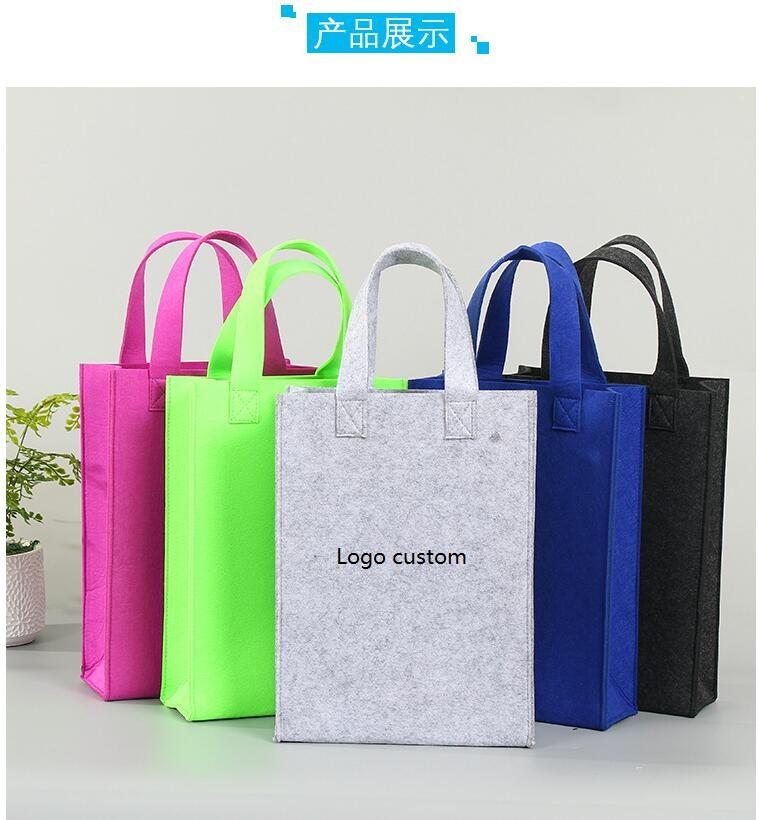 Hotsale Sentiu saco de compras Saco de amostra Sentiu saco de mão com alças Logotipo Personalizado