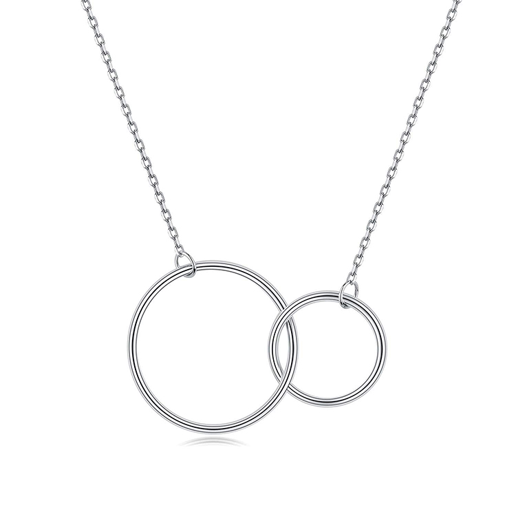 Double Circle Jewelry S925 Sterling <strong>Silver</strong> Two Interlocking Infinity Circles Pendant Necklace for ladies