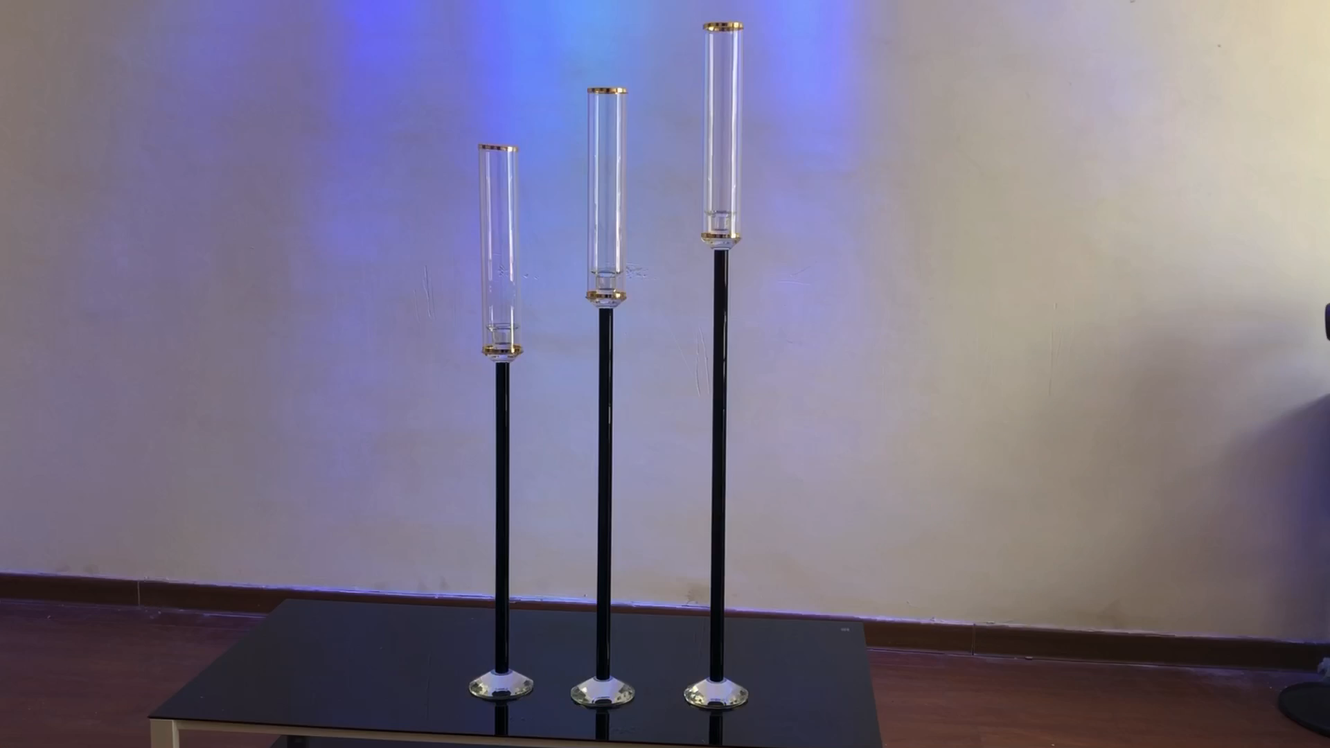 ZT-488 Nova haste Preta único suporte de vela castiçal para peças centrais do casamento