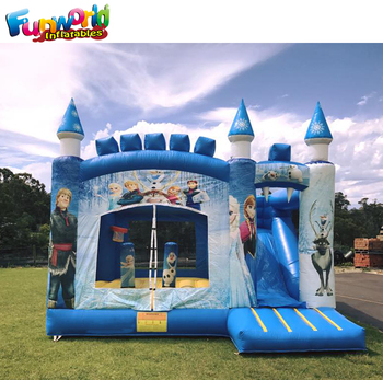 Commercial inflatable frozen jumping castle frozen bounce house with slide