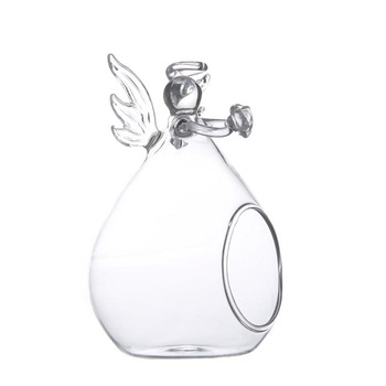 Hanging Clear Creative Angel Shape Glass Tea Light Cover Glass Candle Holder for Wedding Party Home