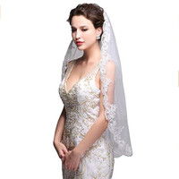 Hot Sale Lace Appliques Wedding Veils One Size with Comb Bridal Veil For Wedding Party