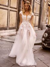 LORIE Boho свадебные платья, кружевные пляжные свадебные платья 2020 с v-образным вырезом и рукавом-крылышком, красивые свадебные праздничные плат...(China)