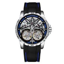 AILANG 2020 новые мужские часы с двойным турбийоном, автоматические часы с полой машиной, силиконовые светящиеся водонепроницаемые часы с поясо...(Китай)