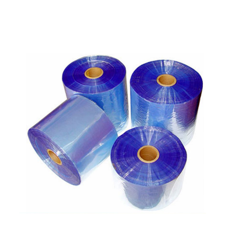 China manufacture hot selling PVC bule film, PVC heat sensitive shrink film , PVC plastic sleeve film for cargo packaging