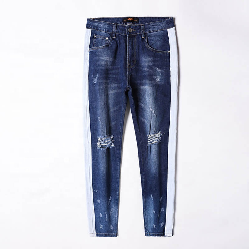 Venta Al Por Mayor De Moda Cuero Azul Denim Pantalones Ajustados Con Rotos De Los Hombres Pantalones Vaqueros Con Raya Lateral De Buy Men Jeans Men Jeans With Side Stripe Ripped Men Jeans