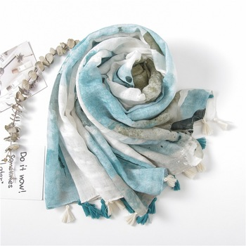 Spring Autumn new long ink cotton and linen oversized scarf women Decoration Scarf cotton hijab scarf