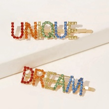 Customize Korean Fashion Wholesale colorful Hairpins Bling Crystal Rhinestone letter word hair clips