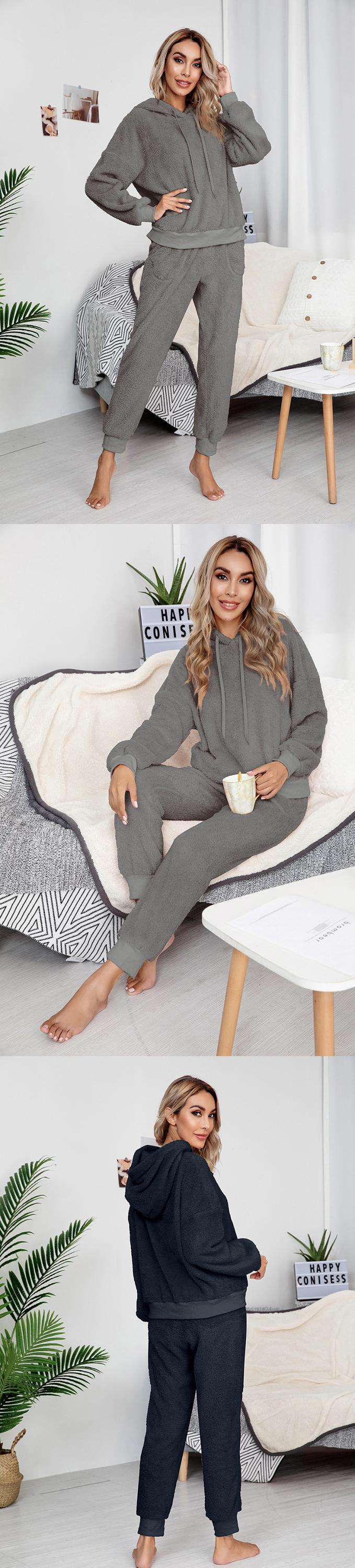 2020 new arrival double velour pullover hoodie plus size women two piece pants set
