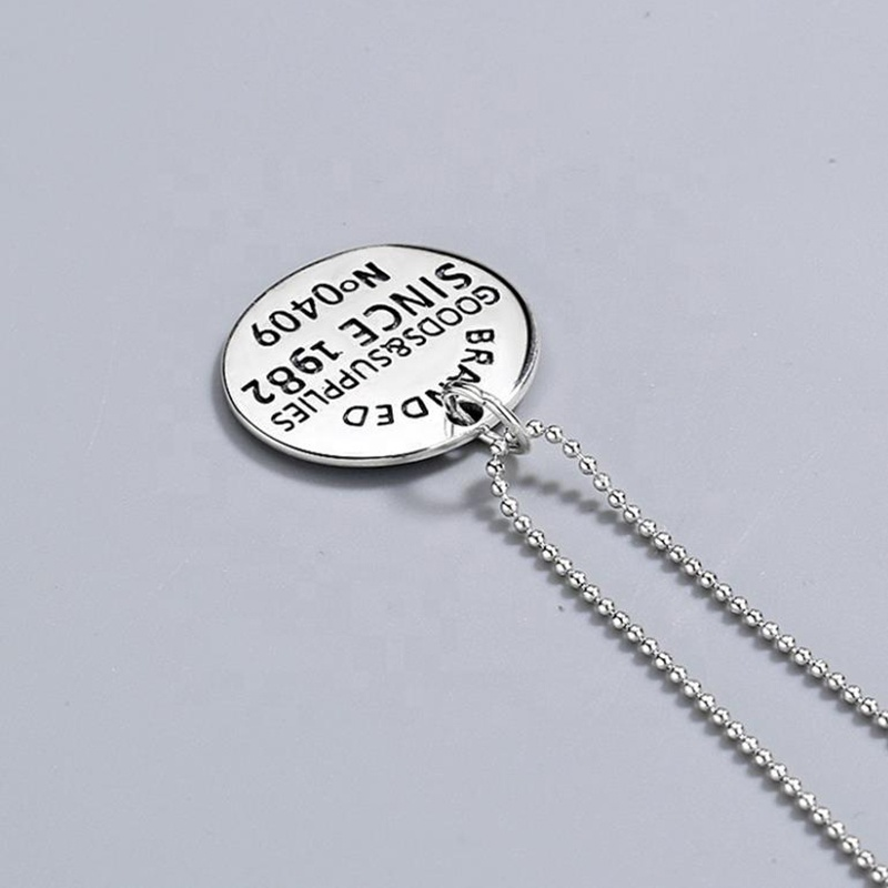 product-BEYALY-925 Sterling Silver English Letter Round Tag Necklace Personality-img