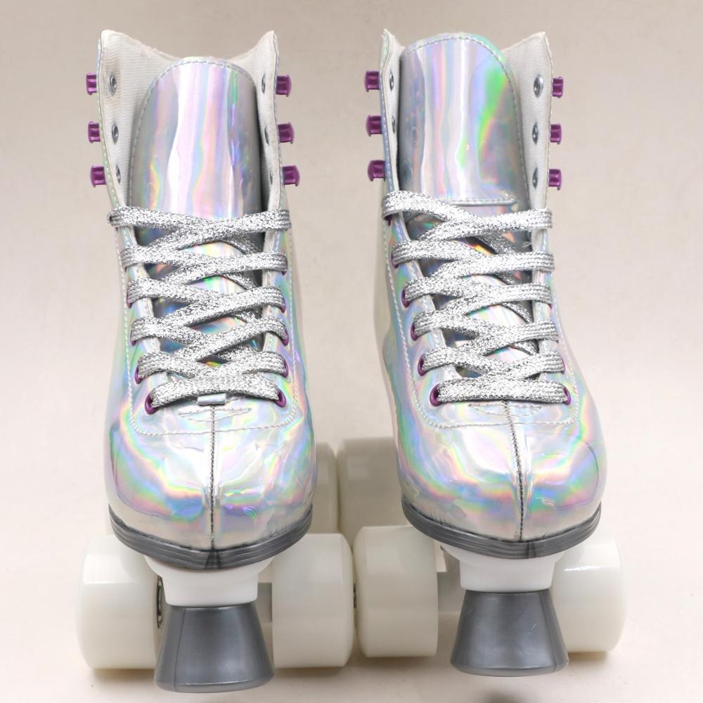 White Glitter Leather Patines Flashing
