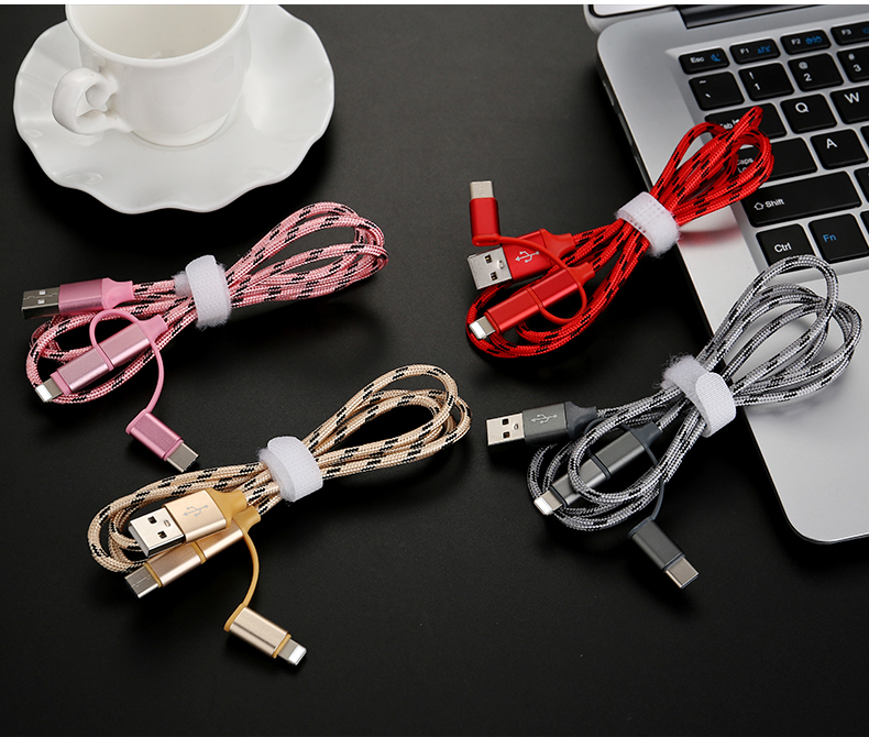 Wholesale OEM 2.4A Nylon Braided Type C 8Pin 3 in 1 Mobile Phone Date Charging Micro USB Cable