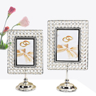 Photo Photo Frame Metal Wholesale Rotating Metal Square Gold Silver Plated 5x7 Crystal Photo Frame For Decorations
