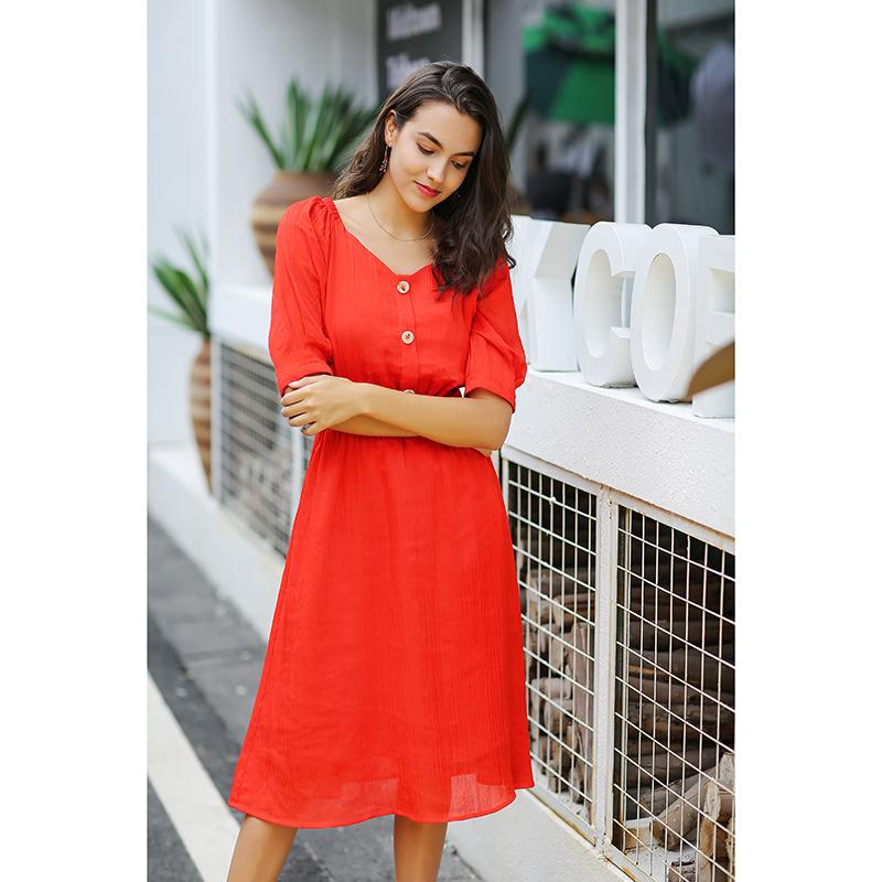 Custom High Quality Polyester V-Neck Slim Waist Sexy Red Casual Dress