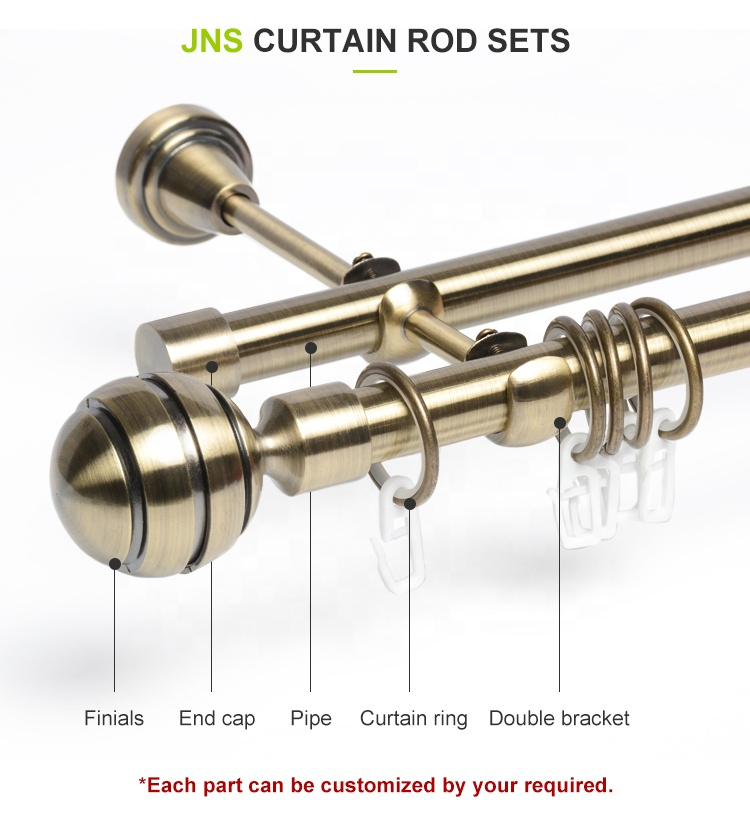 Stardeco Double Curtain Rods Sets Aluminum Alloy Finials Metal Accessories Wholesale Manufacturer