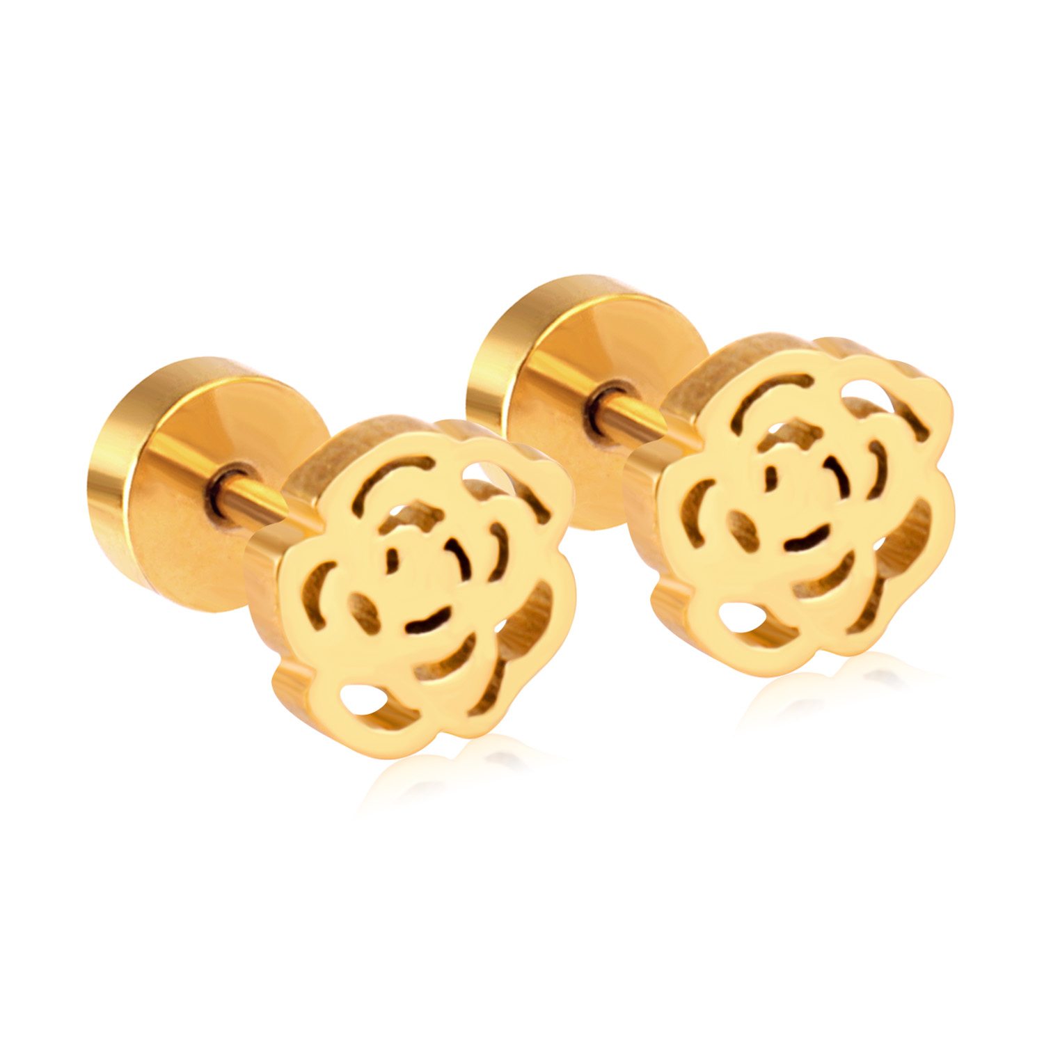 <strong>Gold</strong> Plated <strong>Earring</strong> Rose <strong>Flower</strong> Shaped Screw <strong>Earring</strong> Jewelry Girls <strong>Earring</strong> Guangzhou Supplier